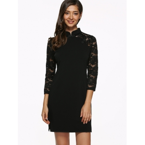 Raglan Lace Sleeve Fitted Mini Dress - BLACK XL