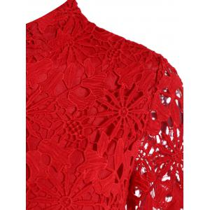 Cutwork Jacquard A Line Lace Dress - RED M