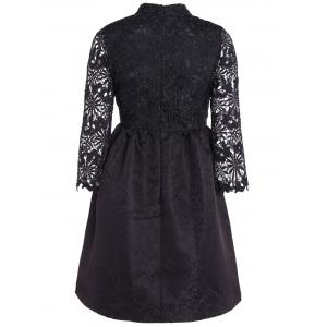 Cutwork Jacquard A Line Lace Dress - BLACK M