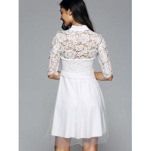 Half Sleeves Laciness Cutwork Dress - WHITE L