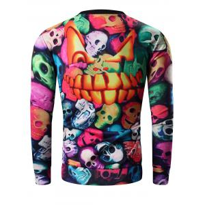 Round Neck 3D Colorful Skull and Halloween Pumokin Print Long Sleeve Sweatshirt - COLORMIX 3XL