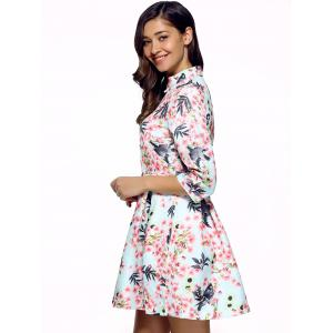 3/4 Sleeves Birdie and Floral Print Dress -