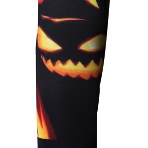 Round Neck Abstract Halloween Pumpkin and Skull Print Long Sleeve Sweatshirt -