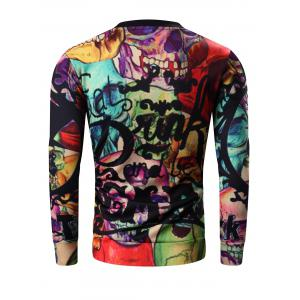 Round Neck 3D Halloween Letter and Skull Print Long Sleeve Sweatshirt - COLORMIX 3XL