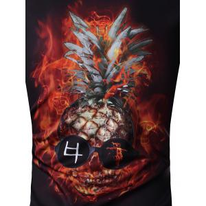 Round Neck 3D Abstract Pineapple Skull Print Long Sleeve Sweatshirt - BLACK 2XL