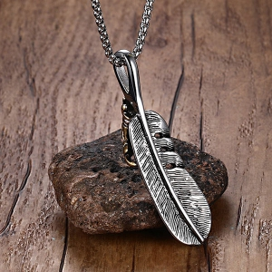 Carved Feather Falcon Talon Pendant Necklace - SILVER
