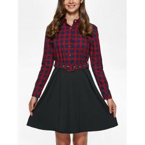 Long Sleeve Plaid Splicing Dress - RED/BLACK L