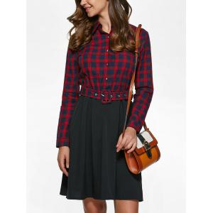 Long Sleeve Plaid Splicing Shirt Dress - RED WITH BLACK L