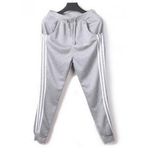 Vertical Striped Drawstring Harem Jogger Pants - LIGHT GRAY M