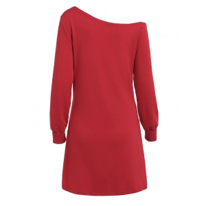 Skew Neck Christmas Long Sleeve Dress -