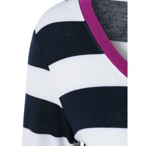 Button Embellished Asymmetric Long Sleeve Striped T-Shirt - HOT PINK M