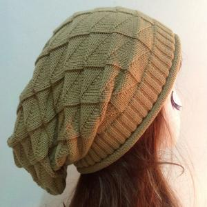 Triangle Jacquard Knitted Slouchy Beanie -