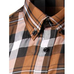 Slim Fit Long Sleeves Plaid Button-Down Shirt - COFFEE 2XL