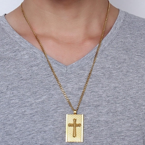 Rectangle Rhombus Embellished Cross Necklace - GOLDEN