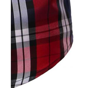 Slim Fit Long Sleeve Button-Down Checked Shirt - RED 3XL