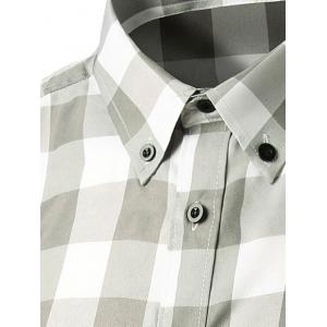 Slim Fit Long Sleeve Grid Button-Down Shirt - GRAY M