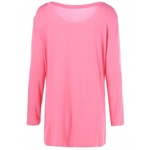 Plus Size Inclined Buttoned Blouse - LIGHT PINK XL