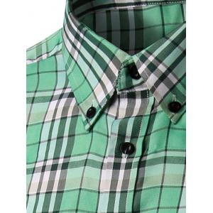 Long Sleeve Gingham Button-Down Shirt - GRASS GREEN 2XL