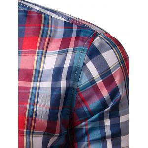 Turn-down Collar Long Sleeve Plaid Shirt - RED 3XL