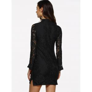 Lace Fitted Short Cocktail Dress with Flare Sleeves - BLACK S
