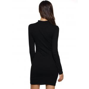 Cutwork Long Sleeves Bodycon Dress - BLACK XL