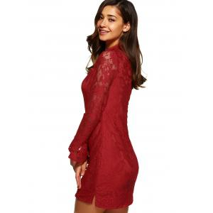 Lace Fitted Short Cocktail Dress with Flare Sleeves - RED L