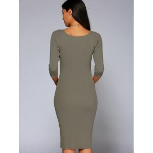 Concise 3/4 Sleeve Close-Fitting Knit Dress - DARK KHAKI ONE SIZE