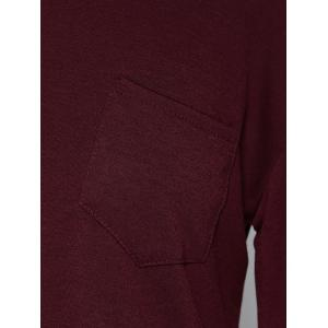 Concise Pocket Skew Collar High Low T-Shirt - DARK RED S