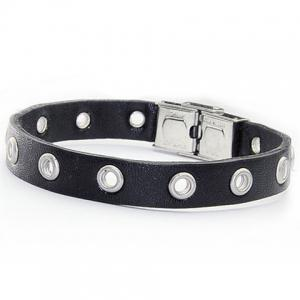 Hollow Ring Charm Faux Leather Bracelet - BLACK