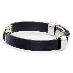 Stainless Steel Faux Leather Bracelet -