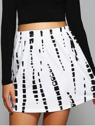 Unique Elastic Waist Printed Mini Skirt