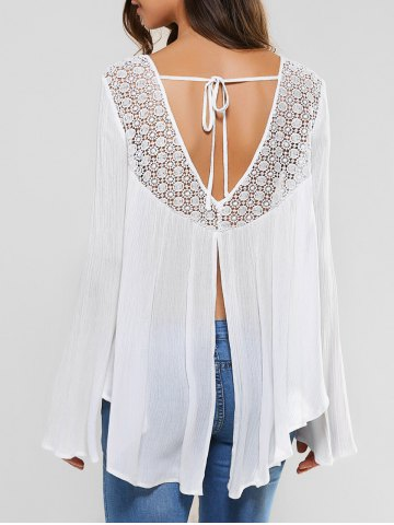 Fashion Back Slit Lace Patchwork Blouse