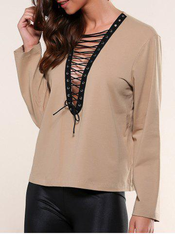 Shops Lace-Up Eyelet Blouse