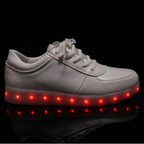 Outfit Fashionable Tie Up and Lights Up Led Luminous Design Athletic Shoes For Women WHITE 43