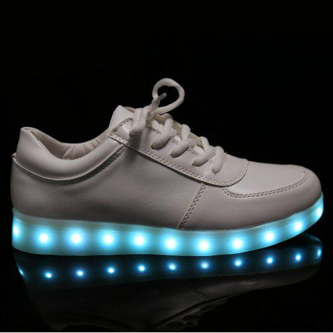 Shop Fashionable Tie Up and Lights Up Led Luminous Design Athletic Shoes For Women - 40 WHITE Mobile