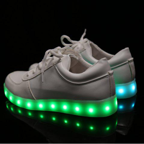 Discount Fashionable Tie Up and Lights Up Led Luminous Design Athletic Shoes For Women - 40 WHITE Mobile