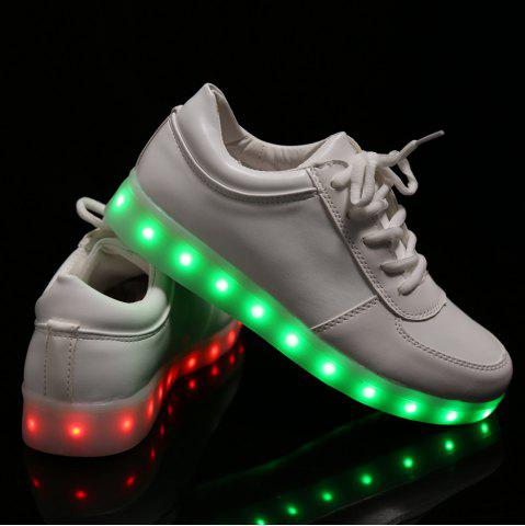 New Fashionable Tie Up and Lights Up Led Luminous Design Athletic Shoes For Women - 40 WHITE Mobile