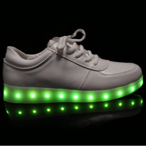Sale Fashionable Tie Up and Lights Up Led Luminous Design Athletic Shoes For Women - 40 WHITE Mobile