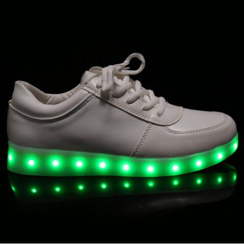 Shops Fashionable Tie Up and Lights Up Led Luminous Design Athletic Shoes For Women - 40 WHITE Mobile
