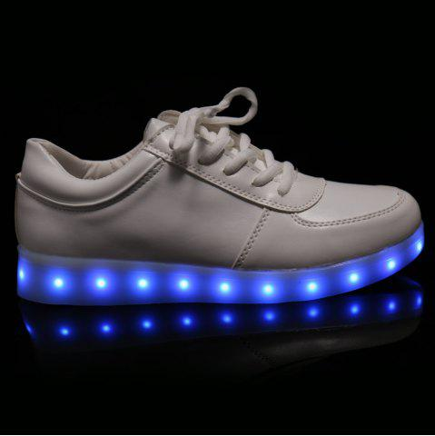 Fashion Fashionable Tie Up and Lights Up Led Luminous Design Athletic Shoes For Women - 40 WHITE Mobile