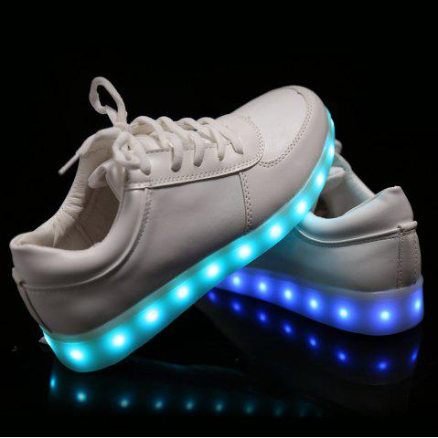 Affordable Fashionable Tie Up and Lights Up Led Luminous Design Athletic Shoes For Women - 40 WHITE Mobile