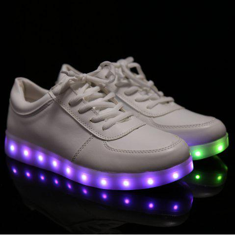 Best Fashionable Tie Up and Lights Up Led Luminous Design Athletic Shoes For Women - 40 WHITE Mobile