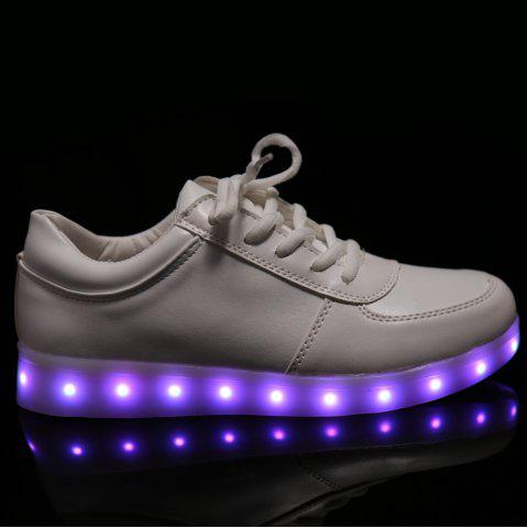 Trendy Fashionable Tie Up and Lights Up Led Luminous Design Athletic Shoes For Women - 40 WHITE Mobile