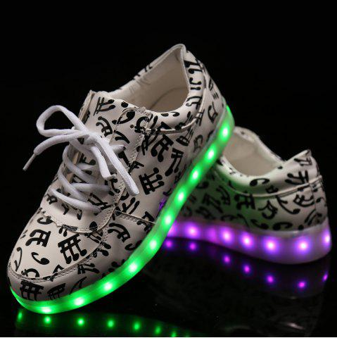 Shops Trendy Lights Up Led Luminous and Musical Note Print Design Athletic Shoes For Women - 38 WHITE Mobile