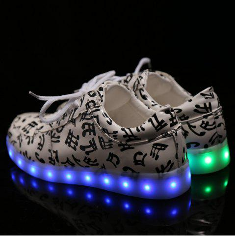 Sale Trendy Lights Up Led Luminous and Musical Note Print Design Athletic Shoes For Women - 38 WHITE Mobile