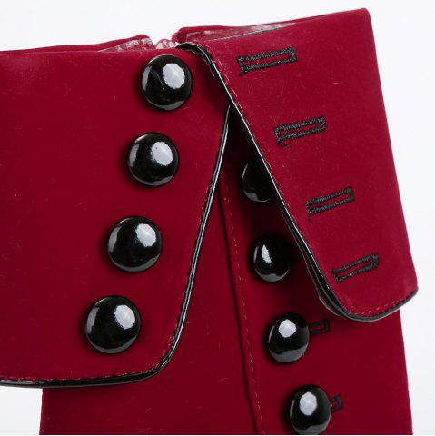 Latest Fold Over Button Mid Calf Boots - 37 RED Mobile