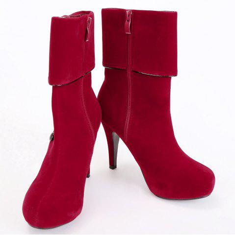 Discount Fold Over Button Mid Calf Boots - 37 RED Mobile