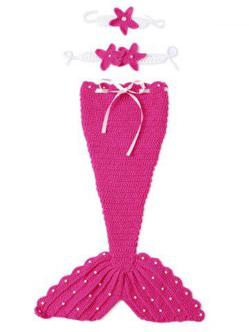 Store 3PCS Baby Photography Prop Crochet Mermaid Blanket Suits ROSE RED