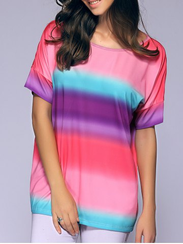 Cheap Short Sleeves Round Collar Tie-Dyed T-Shirt COLORMIX XL