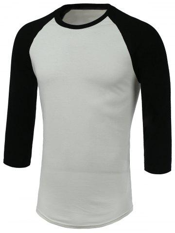 Discount Round Neck Color Block Three-Quarter Raglan Sleeve T-Shirt